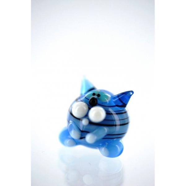 Katze mini blau 1-Glasfigur