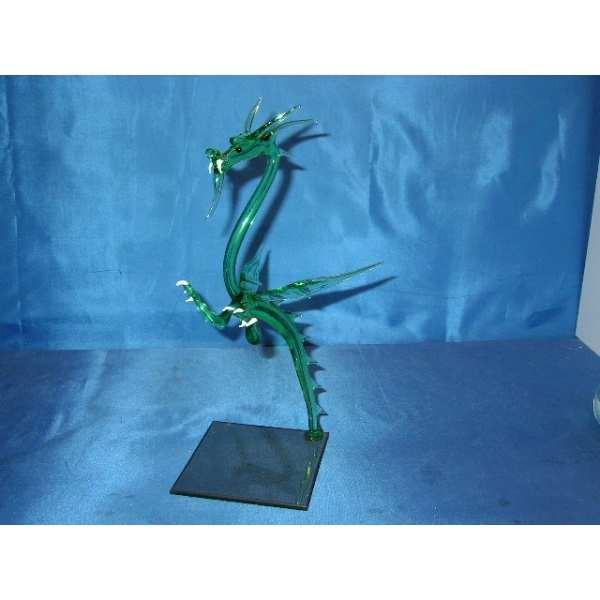 Drache Groß Grün stehend - Glastier