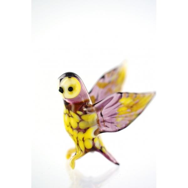 Vogel -Eule braun - Glasfigur - Glastier Kauz