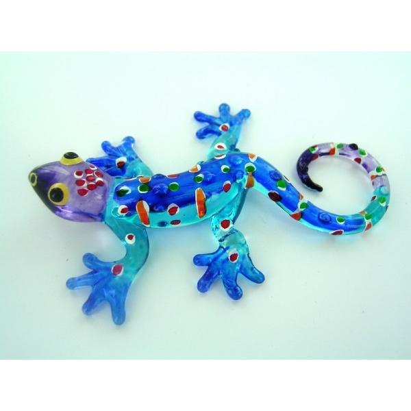 Gecko - Glasfigur - Glasfiguren- T-Blau-S