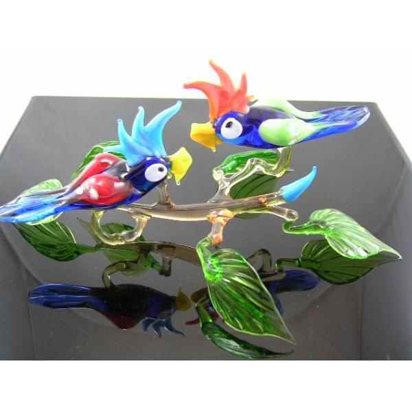 2 Papageien auf Ast-9 - Glastiere