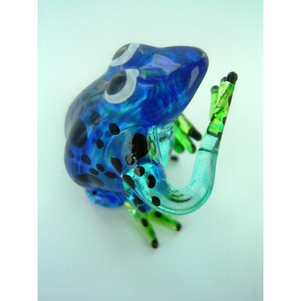 Frosch - Frog -Glasfigur-Glastier-T-02-blau