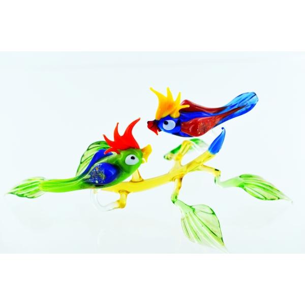 Zwei Papageien auf Ast - Glasfigur Kakadu Blau Rot - Deko