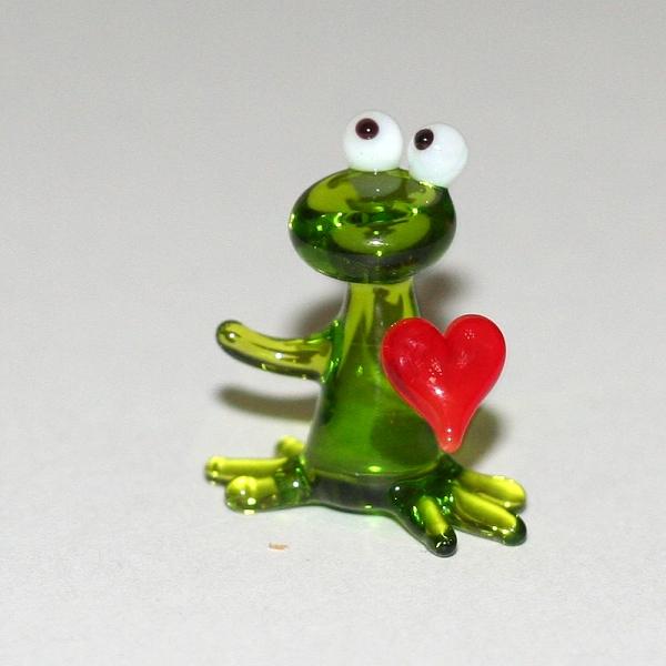 Frosch mini mit Herz-Glasfigur-k-6
