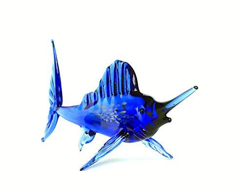 Marlin Blau - Fisch Figur aus Glas - Deko Vitrine Glasfisch Schw