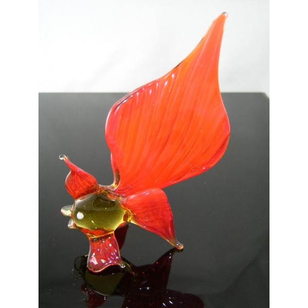 Fisch rot-gelb-Glasfigur