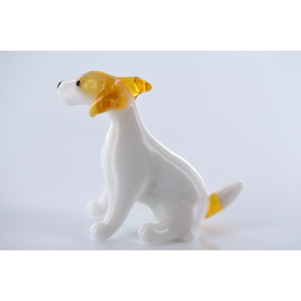 Dog-Jack Russell terrier sitting-b8-3-14-glass figure
