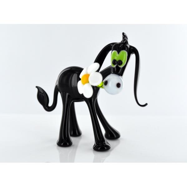 Esel mit Blume - Schwarz -Glasfigur-Glasfiguren-b1-6-6