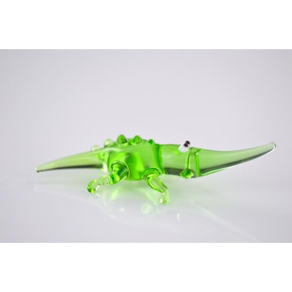 Grünes Krokodil - Miniatur Glasfigur 1 - Glastier