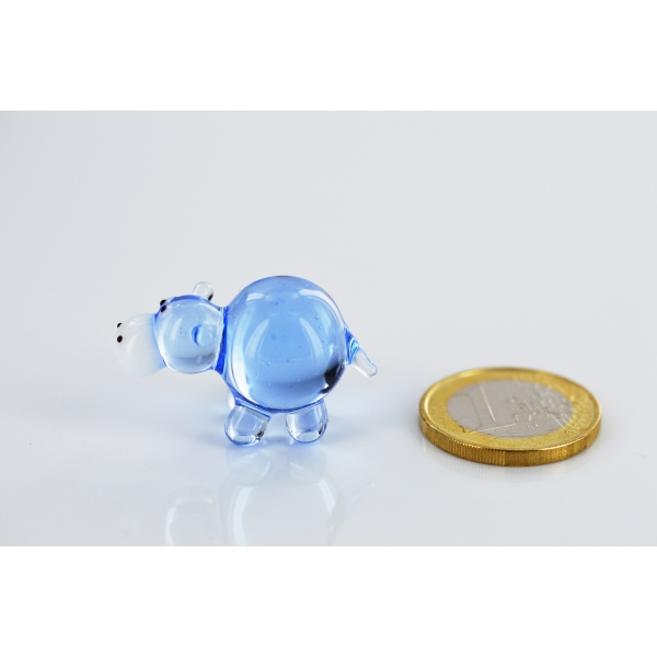 Flusspferd Mini Blau - Glasfigur Nilpferd Hellblau - Miniatur