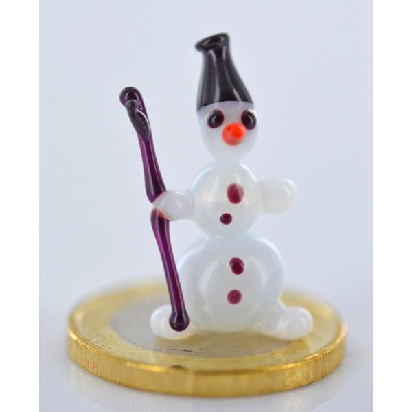 Schneemann mit Stock und Hut - Miniatur Glasfigur - Mini