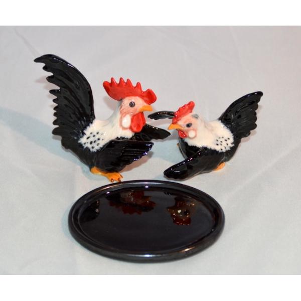 Salzstreuer und Pfefferstreuer Hahn und Huhn