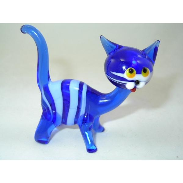 Katze-Tigerkatze-Cat-dunkel blau-22-12 - Glastier
