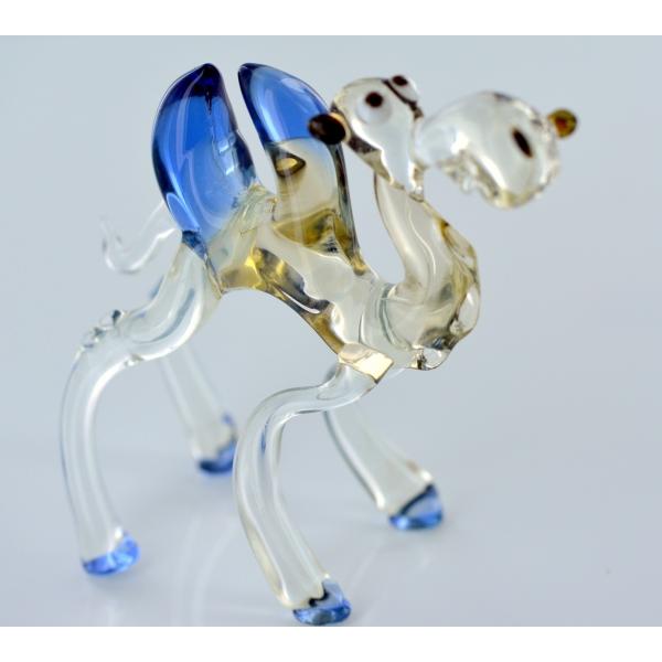 Kamel Mit Blauen Höckern und Hufen - Glastier, Glasfigur