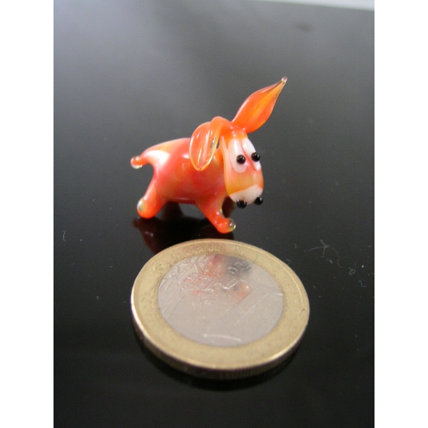 Esel mini orange -Glasfigur-k-6