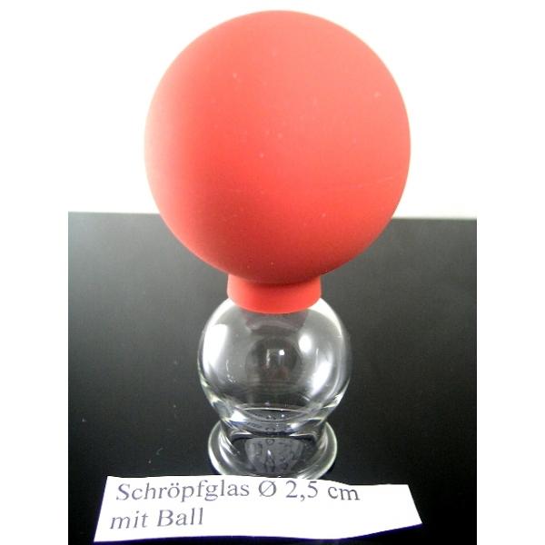 Schröpfkopf mit Olive und Saugball-2.5 cm-Schröpfgläser