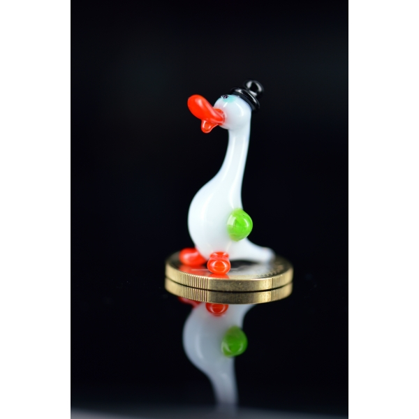 Ente mit Hut - Miniatur Glasfigur Vogel - Gans Mini - Glastier