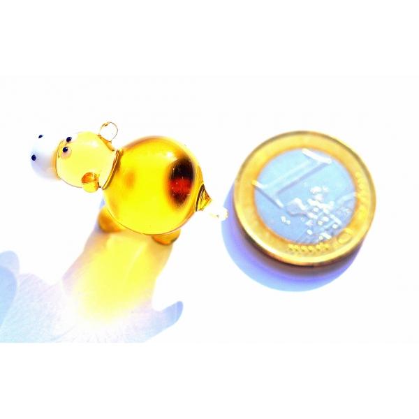 Flusspferd Mini Gelb - Glasfigur Nilpferd Goldgelb - Miniatur