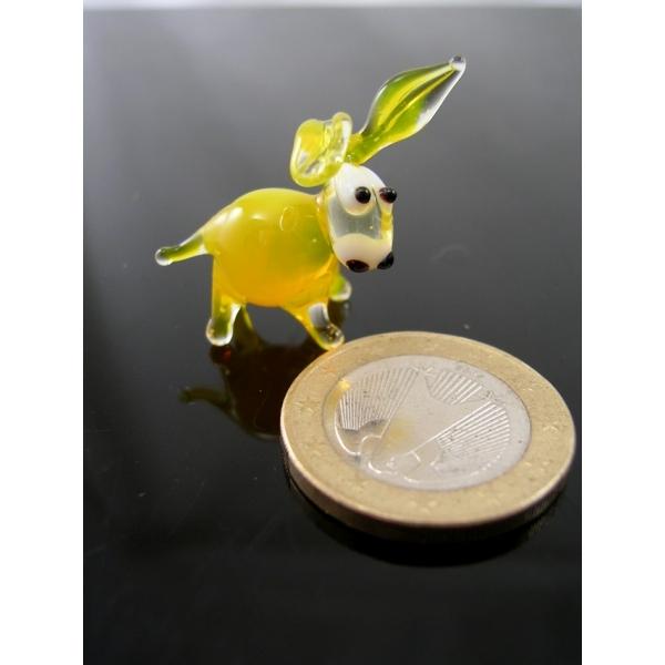Esel mini gelb 2-Glastier-Glasfiguren-k-1