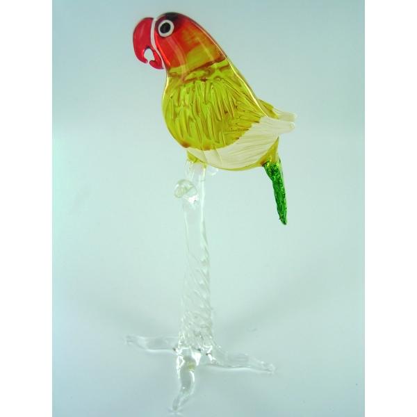 Papagei auf Ast 4 -Glasfigur-Glastier
