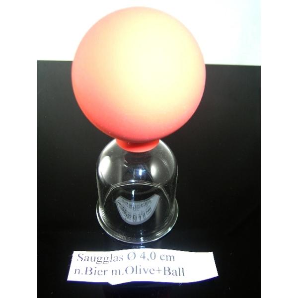 Saugglas mit Olive und Ball nach Bier-4,00 cm