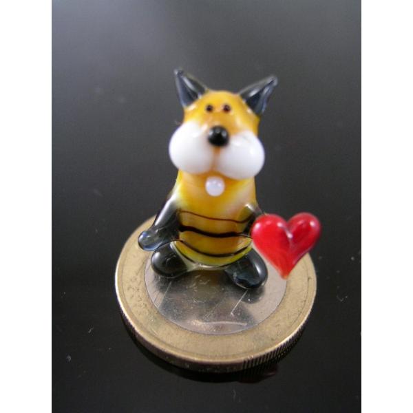 Katze mini mit Herz 1 -Glasfigur-k-6