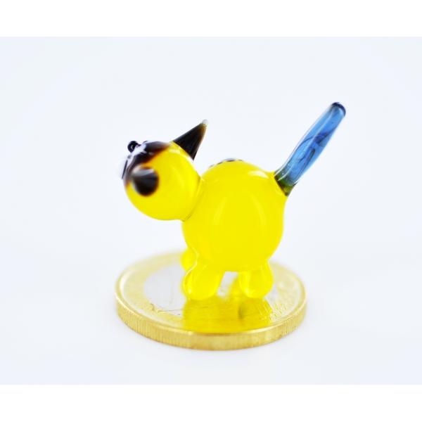 Katze Gelb Mini - Miniatur Glasfigur Gelbe Samtpfote- Glastier