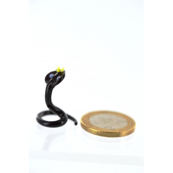 Kobra mini schwarz - Schwarze Königskobra- Glasfigur