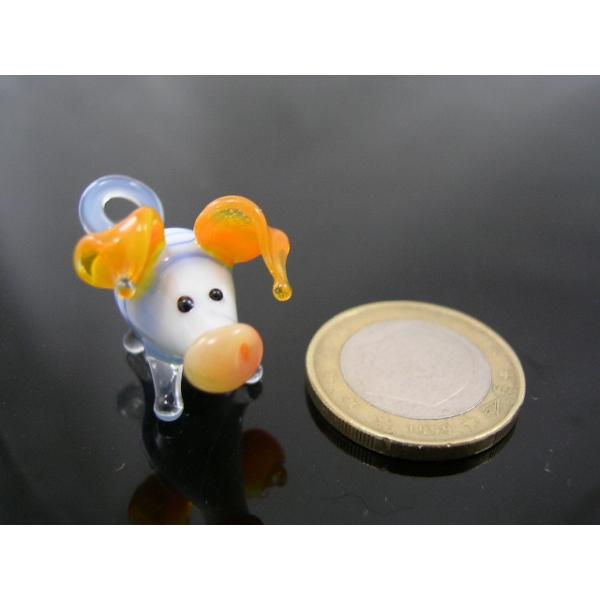 Schwein mini Glasfigur-k-1 blau-orange