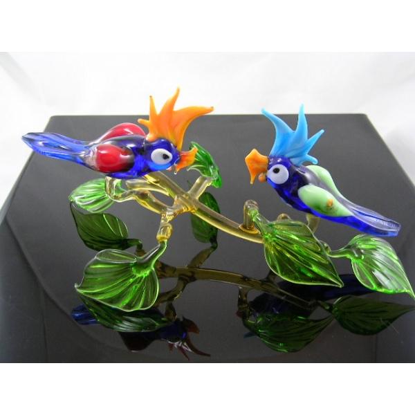 2 Papageien auf Ast-4 - Glastiere