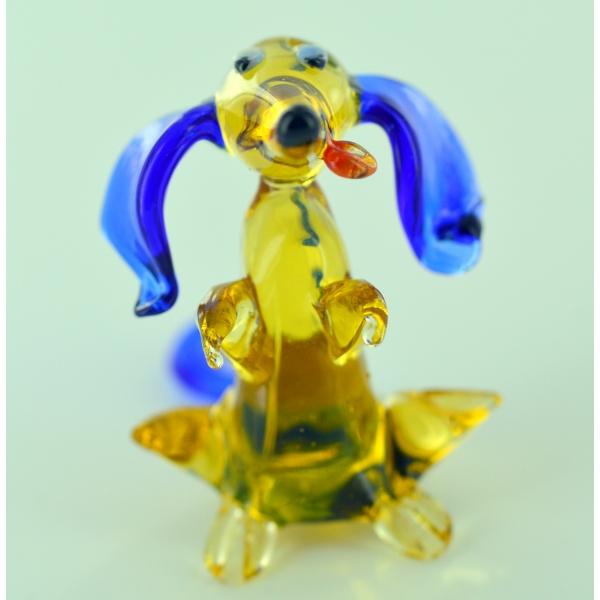 Hund Mit Blauen Ohren - Glasfigur Glastier