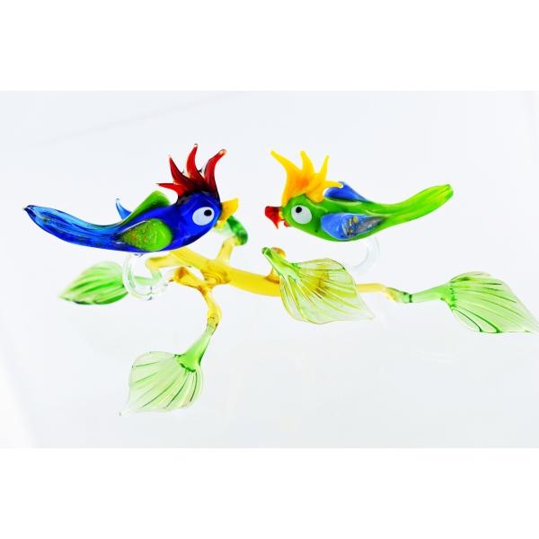 Zwei Papageien auf Ast - Glasfigur Kakadu Blau Gr