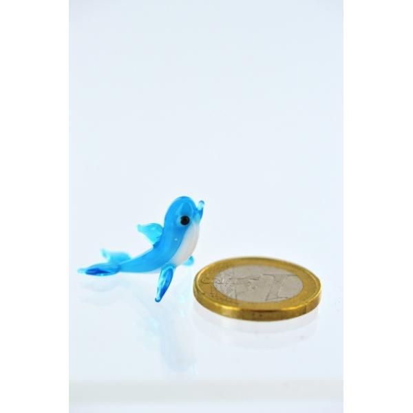 Delfin mini - hellblau -f-1 -Glasfigur--
