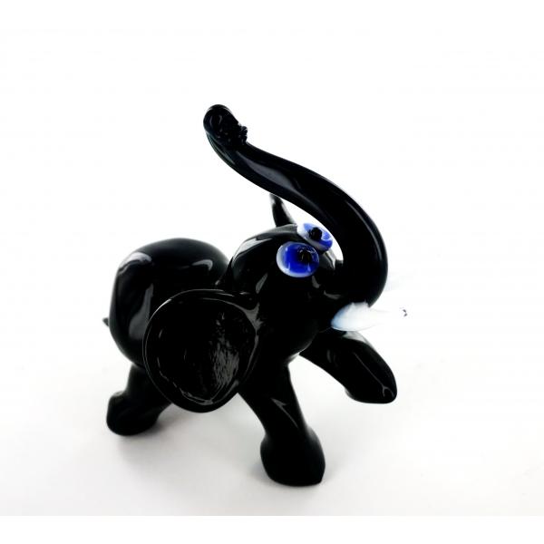 Elefant schwarz 2 - Glastier