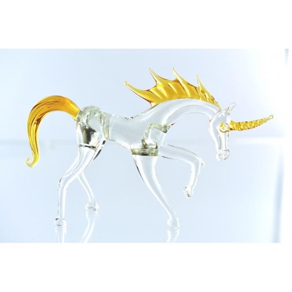 Einhorn stehend-Glasfigur-Gold-Klar