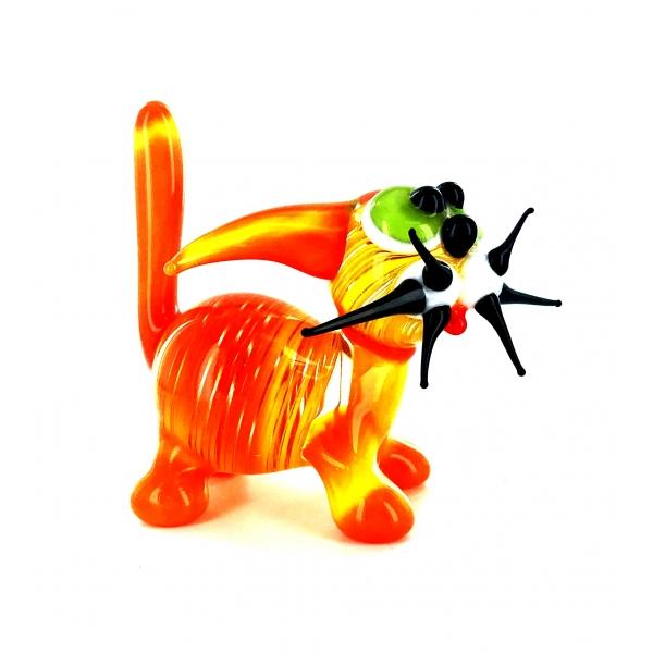 Katze Orange Gelb Gestreift - Figur aus Glas gr