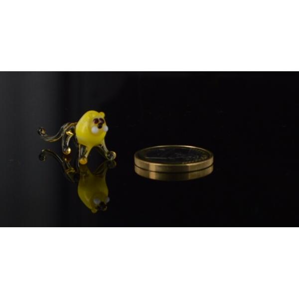 Löwe Mini -Miniatur Figur Glas Gelb - Glastier Glasfigur Deko
