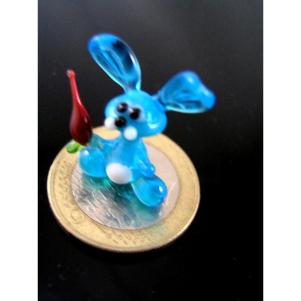 Hase mit Mörchen mini-Kaninchen-Glastier-Glasfigur-k-9