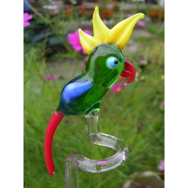 Orchideenstab Papagei Grün Gelb Rot - Blumenstab aus Glas Mit Vogel Figur - Rankhilfe Gartendekorati