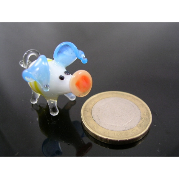 Schwein mini Glasfigur-k-1 blau-gelb