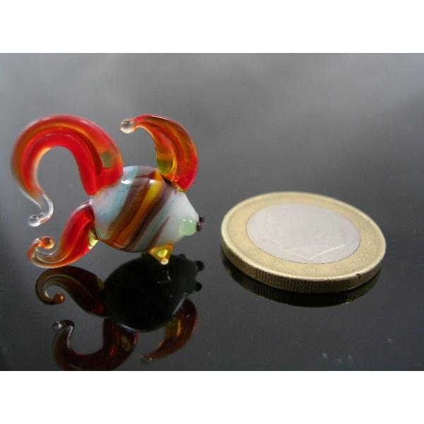 Fisch mini -Glasfigur-Glastier k-1-rot-weiß